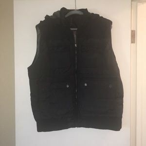 Other - Men's black puffy vest with hood